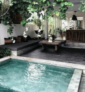 Expat Tenant Mario T's swimming pool in unit he got using one of the best Expat Property Agents in Singapore from Propseller