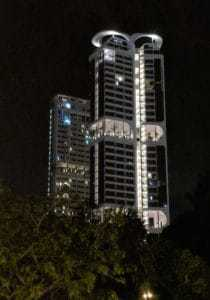 Raphael's condo, from afar at night, found with a top expat Property Agent from Propseller