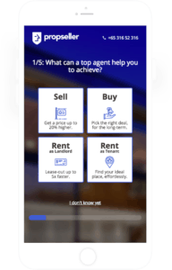 Screenshot from Propseller's website questionnaire to help connect clients with top Property Agents specialised for their needs