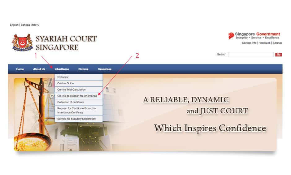 Syariah Court Singapore's Website - For Inheritance Application