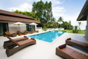 Pool side of the villa