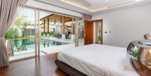 Master bedroom directly opens into pool area