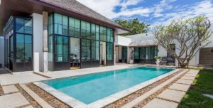 Modern luxury villa opens up to pool and outdoor area