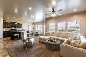 Contemporary, spacious living area